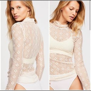 Free People Sweet Memories Ivory Lace Longsleeve